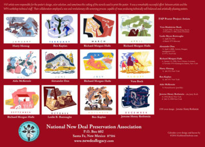National New Deal Preservation Association 2017 calendar - repurposed 1939 WPA Federal Art Project calendar originally created in 1938 by the NYC Poster Division of the FAP