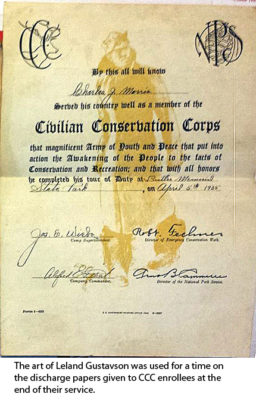"CCC Discharge certificate - background art L.R. Gustavsons ""CCC Boy in Winter Equipment""."
