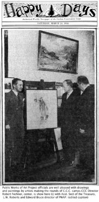 HAPPY DAYS 3/24/2934 picture of CCC/PWAP art with officials.