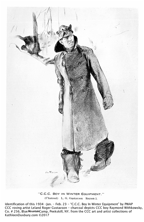Charcoal drawing of CCC Boy in Winter Equipment, 1934, by L. R. Gustavson