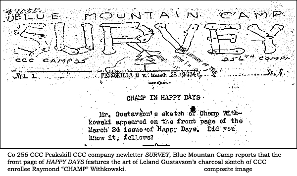 copy of CCC camp newspaper where the are of Gustavson is mentioned