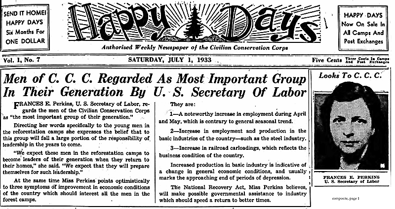 Happy Days news article quoting Frances Perkins Secretary of Labor statements on the CCC program.